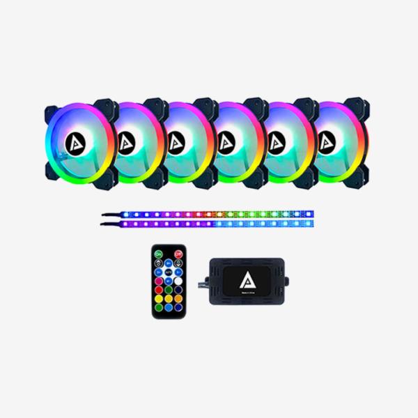 APEVIA TWILIGHT 6X RGB 120MM LED FAN & 2XRGB STRIPS